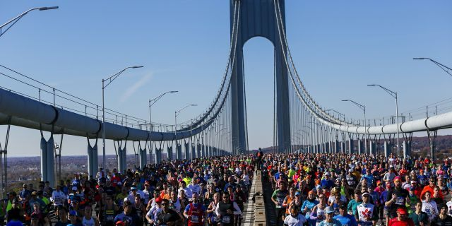 Runners as they cross the Verrazano-Narrows Bridge during the New York City Marathon on Sunday, Nov. 4, 2018, in New York.